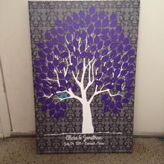 Damask Wedding Tree Canvas | Guest Book Alternative | Rustic Wedding | Customer Photo | Wedding Colors - Purple & Blue | peachwik.com