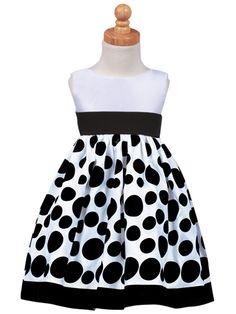 Black and White Sleeveless Polka Dot Velvet Girls Formal Holdiay Dresses