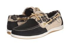 Sperry Top-Sider Koifish Animal Boat Shoes Black Leopard