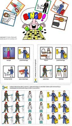 """Harjoitellaan kysymystä """"KUKA"""".  Tulosta, leikkaa ja laminoi Bingo-taulut. Bingossa voittaa se, joka saa taulun ensimmäisenä täyteen eli neljä oikein. Bingo, Playing Cards, Map, Teaching, Activities, Playing Card Games, Location Map, Maps, Education"""