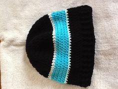 Carolina Panthers crocheted hat.