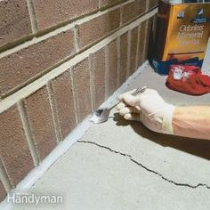 Concrete Cracks Protect your foundation and walks from further damage by sealing cracks with durable urethane caulk.Protect your foundation and walks from further damage by sealing cracks with durable urethane caulk. Home Renovation, Home Remodeling, Kitchen Remodeling, Home Improvement Projects, Home Projects, Repair Cracked Concrete, Home Fix, Diy Home Repair, Home Repairs