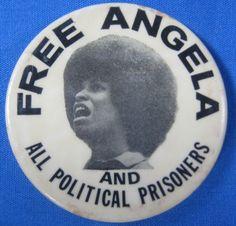 Free Angela Davis pin back Angela Davis, Black Panther Party, Civil Rights Activists, January 26, Civil Rights Movement, African American History, Black History, Politics, Author