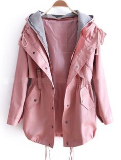 Pink Removable Hooded Long Sleeve Drawstring Trench Coat