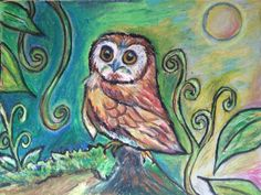 Whimsical Owl, Oil pastel by Thania M. Flores