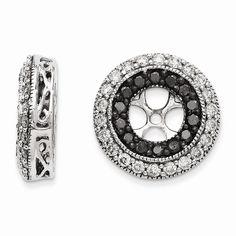 14k White Gold Black & White Diamond Earring Jackets #EarringJackets