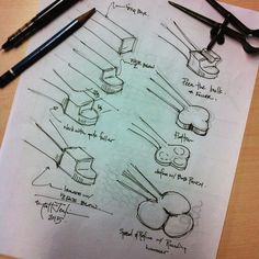 The step by step sketch for how I forge the the clover.