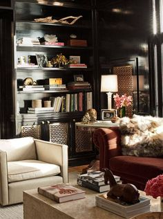 Nate Berkus Interiors | Chicago Lakeshore Drive Home | Elle Love the decorative brass door insets