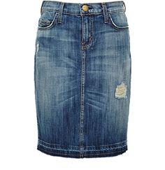 The knee-length denim pencil skirt is back.