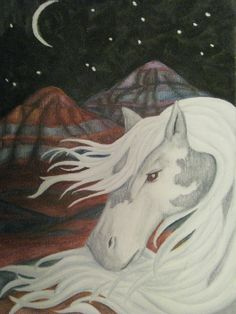 Watercolor Painted desert and Horse