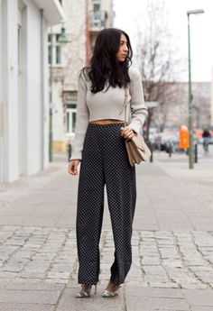 wide leg pants and cropped sweater... hm.. I might be able to pull that off