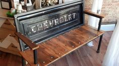 """""""You always get your way at Ourisman Chevrolet!"""" - Blue Collar Tailgate benches from Yesterday Reclaimed!"""