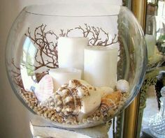 Seashell candle centerpiece ocean under the sea Hawaii luau #DIYHomeDecorBathroom