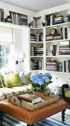 57 Trendy home library cozy sofas Cool Bookshelves, Built In Bookcase, Book Shelves, Bookshelf Ideas, Styling Bookshelves, Diy Bookcases, Bookcase White, White Shelves, Living Room Lighting