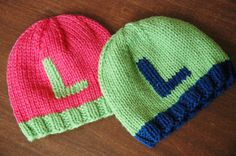 Set of 2 KNIT hats  monogram initials  twins  by franticcrafter, $38.99