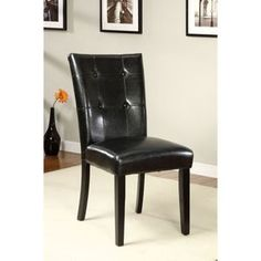 Atlas Black Leatherette Seat Side Chair Set of 2