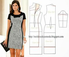 Slimming black'n'white dress from Moldes Moda por Medida: VESTIDOS Diy Clothing, Sewing Clothes, Dress Sewing Patterns, Clothing Patterns, Diy Fashion, Ideias Fashion, Fashion Design, Female Fashion, Robe Diy