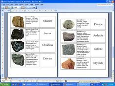 Here's a set of rocks and minerals flash cards. Includes good pictures and descriptions.