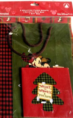New Disney World Package of Christmas Wrapping Paper Gift Bag and Box…
