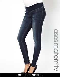Image 1 ofASOS Maternity Skinny Jeans In Dark Vintage Wash With Stretch Waistband in Longer And Shorter Lengths