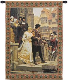 God Speed is a Belgian jacquard wall tapestry depicting the 1900 painting by Edmund Blair Leighton (1853-1922). His works show a great beauty and a romanticized view of life in the Middle Ages. In thi