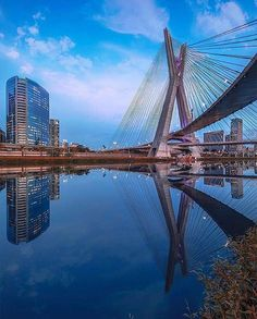 """Commonly known as """"Ponte Estaida"""", is a cable-stayed bridge in São Paulo, Brazil over the Pinheiros River, opened in May The bridge is 138 metres tall, and connects Marginal Pinheiros to Jornalista Roberto Marinho Avenue in the south area of the city. Cable Stayed Bridge, Urban Concept, Sao Paulo Brazil, Paulistano, Vanishing Point, Marina Bay Sands, Beautiful Places, Around The Worlds, River"""