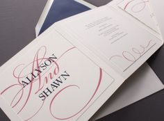 This folder invitation is shown thermograph printed in peony and indigo inks.