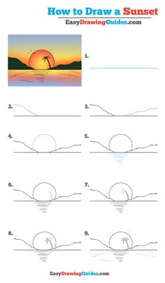 How to Draw a Sunset - Really Easy Drawing Tutorial drawing for kids - Drawing Tips Easy Pencil Drawings, Easy People Drawings, Cute Easy Drawings, Doodle Drawings, Art Drawings Sketches, Drawing People, Disney Drawings, Beautiful Easy Drawings, Very Easy Drawing