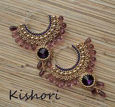 """Купить Серьги """"Кунти"""" - фиолетовый, золотой, восток, восточный стиль, восточный, восточные серьги, индия"""