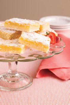 Classic lemon squares are always a popular dessert at teas, luncheons, and  showers.  As an added bonus, you can make them ahead and freeze for up to one month.  Recipe: Luscious Lemon Bars