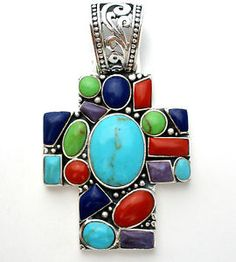 Large Sterling Silver Cross Pendant Gemstone Turquoise Coral Gaspeite Charoite in Jewelry & Watches, Vintage & Antique Jewelry, Vintage Ethnic/Regional/Tribal, Southwestern | eBay