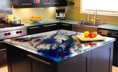 Beautiful & artistic glass countertop design