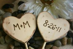 Rustic Chic Wedding Cake Toppers Personalized with Your Initials and Wedding Date On Hearts Rustic Wedding Decor Wood Cake Toppers. $16.99, via Etsy.