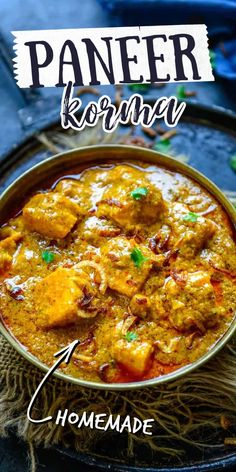 Korma Recipe Indian, Paneer Korma Recipe, Paneer Biryani, Pakora Recipes, Paneer Recipes, Curry Recipes, Beef Recipes, Cooking Recipes, Gourmet