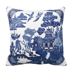Classic vintage willow pattern throw pillow. Perfect for a formal setting. Other throw cushions: View more gifts at Zazzle. #vintage #retro #vintage #pattern #classic #pattern #formal #pattern #formal #willow #pattern #china #flora #floral