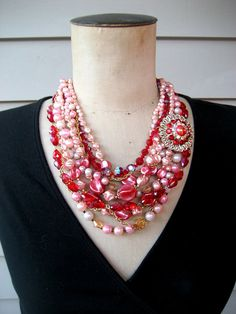 RESERVED Vintage Repurposed Red Pink Statement Necklace