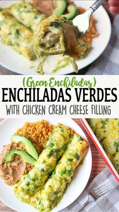 mexican recipes with chicken These Green Enchiladas are creamy, cheesy & full of flavor! Stuffed with chicken, cream cheese, shredded cheese, and fire roasted green chiles. Green Chicken Enchiladas, Chicken With Salsa Verde, Homemade Enchiladas Chicken, Enchiladas Verdes Recipe, Chicken Tacos, Tomatillo Salsa Verde, Tomatillo Recipes, Mexican Food Recipes, Mexican Side Dishes