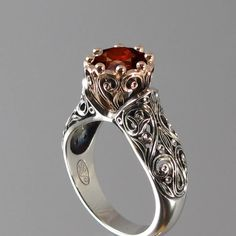 The ENCHANTED PRINCESS ring in silver and 14k rose gold with Red Spinlel RESERVED for M.. $910.00, via Etsy.