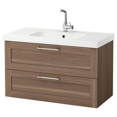 """IKEA - GODMORGON / ODENSVIK, Sink cabinet with 2 drawers, walnut effect, 39 3/8x19 1/4x25 1/4 """", , 10-year Limited Warranty. Read about the terms in the Limited Warranty brochure.Smooth-running and soft-closing drawers with pull-out stop.Drawers made of solid wood, with bottom in scratch-resistant melamine.You can easily customize the size of the drawer by moving the divider.You can easily see and reach your things because the drawers pull out fully.The included wate..."""