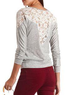 Lace Yoke & Back Long Sleeve Top: Charlotte Russe