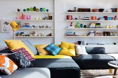 Love all the color to balance out the plain white wall!