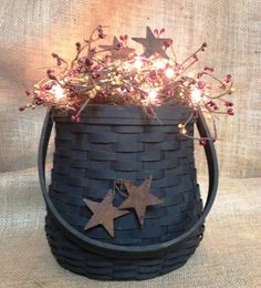 Lighted Centerpiece Primitive Country basket by BlackSheepCountry, $45.99