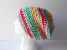 Rasta Hat. Dread Tam. Super Slouchy Hat. Gray slouch Hat. Striped Rasta Hat.  Slouch beanie hat. Festival hat 1e3c495f9a9f