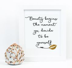 Coco Chanel quote, fashion print, Beauty begins lip quote, gold wall art, inspirational print, typography quote, fashion typography print,