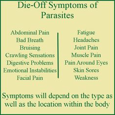 The die-off symptoms of parasites include weakness, fatigue, pain and emotional instabilities. The parasite die-off symptoms begin as soon as the parasites start to die off and generally last until…
