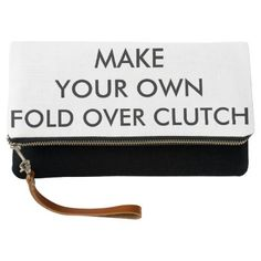 Custom Personalized Black Linen Fold Over Clutch - template gifts custom diy customize