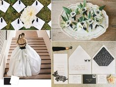 We will be going for a mailnly black and white wedding color palette with deep hunter green accents and dark red flowers (with variety).