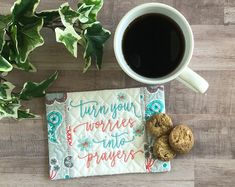 What a lovely addition to your daily devotional time! Or gift this beautiful mug rug to a friend! #Christiangiftidea #giftsunder25forher #prayersaying #bluemugmat #inspirationalsnackmat #religiousgift Gift Of Faith, Christian Gifts For Women, Personalized Teacher Gifts, Embroidered Gifts, Simple Reminders, Coffee Lover Gifts, Religious Gifts, Mug Rugs, Potholders