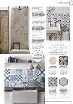 Ideal Home - February 2014. A round up of beautiful patterned tiles featuring our own blue and red Artisan Topkapi tiles.