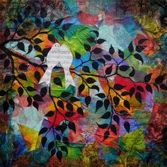 Bird Song - A giclee print of an original multi media painting by Candice Dillhoff Wee Cottage Art Studi